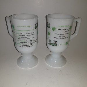 Vintage Milk Glass Irish Coffee Cups Shamrocks